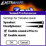 Zap sound preferences